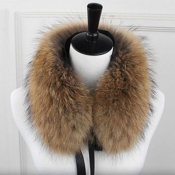 DCCKJG2 Long real raccoon fur women collar 4 colors solid soft warm autumn winter ladies scarf shawls collares
