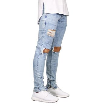 Men Jeans Stretch Destroyed Ripped Design Ankle Zipper Skinny Jean\