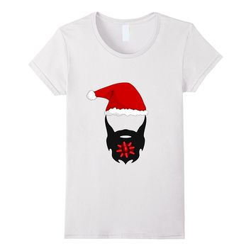 Funny bearded man present santa hat christmas gift T-shirt