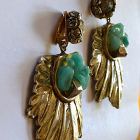 Vintage 80s Clip On Dangle Earrings, Leaf Earrings, Boho Earrings, Turquoise Earrings, 1980s