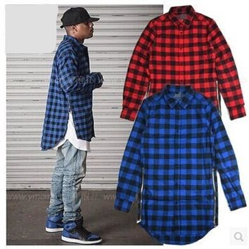 Men Plaid Zipper Long Sleeve Baggy Shirt Tartan Flannel