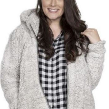 Simply Southern Sherpa Jacket - Light Grey