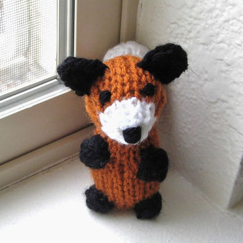 Miniature Red Fox - Hand Knitted Amigurumi - Children's Tiny Stuffed Animal Toy