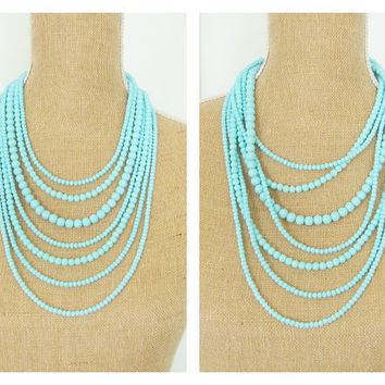 Aqua Blue Multi Strand Statement Necklace Glass Bead  - Wedding, Bridal, Bridesmaid, Chunky, Preppy, Boho Bohemian