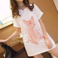"""Gucci"" Women Casual Fashion Round Neck Cute Cartoon Pig Print Short Sleeve Shirt Mini Dress"