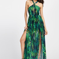 Keyhole Cross Neck Foliage Print Backless M-Slit Dress -SheIn(Sheinside)