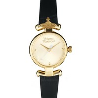 Vivienne Westwood Orb Black Leather Strap Watch - Black