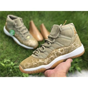 "[ Free  Shipping ]Air Jordan Retro 11""Neutral Olive"" AR0715-200   Basketball Shoes"
