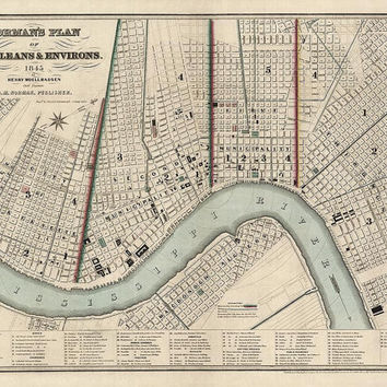 Antique Map of New Orleans (1845) - Archival Reproduction