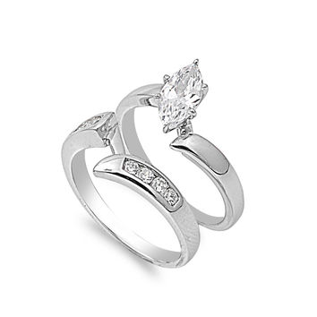 925 Sterling Silver CZ Stackable Bridal Marquise Center Ring 10MM