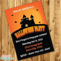 PRINTED Haunted House Halloween Party Invitations