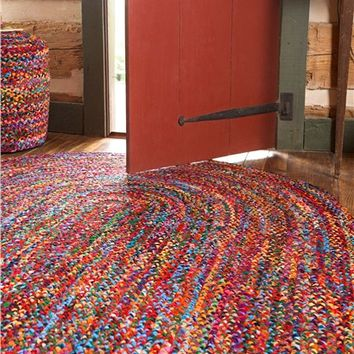 Colorful Braided Rug And Accents In Recycled Cotton Blend