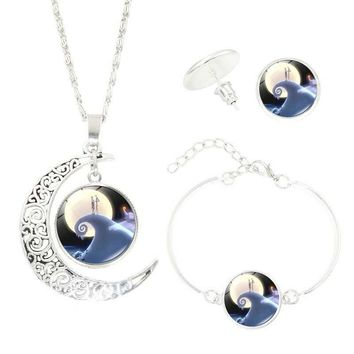 Vintage Jewelry Set with Silver Plated Glass Cabochon The Nightmare Before Christmas Crescent Necklace Earring&Bracelet Set
