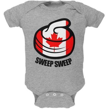 ESBGQ9 Winter Sports Flag Curling Sweep Sweep Canada Soft Baby One Piece