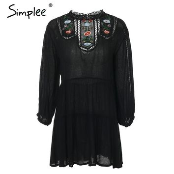 Simplee Lace embroidery spring dress women Backless hollow out button black dress 2018 Elegant short dress vestidos