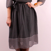 Vintage 80s - Sheer Black & Gray Striped - Puffy Pleated Quarter Length Sleeeves w/ Tie Belt - Short Midi Dress