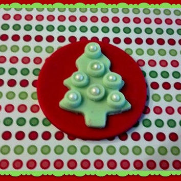 Light Green Christmas Tree on a Red background. With Sugar Pearls. Set of 12 (1 dozen)