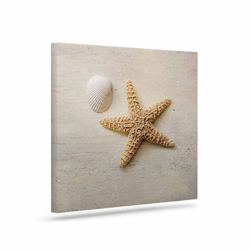 "Sylvia Cook ""Starfish And Shell"" Beige Yellow Canvas Art"