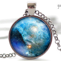 Nebula Necklace, Space Galaxy Art Pendant,  Nebula Jewelry, Universe Stars Gift for Him or for Her (1249)