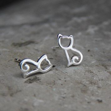 Cute Tiny Silver Hollow Cat Kitten Stud Earrings