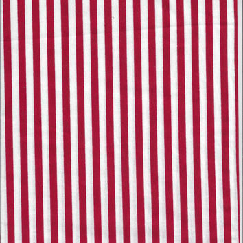 One HALF Yard Plus Cut of New, Cotton Quilting Fabric in Red & White Stripes