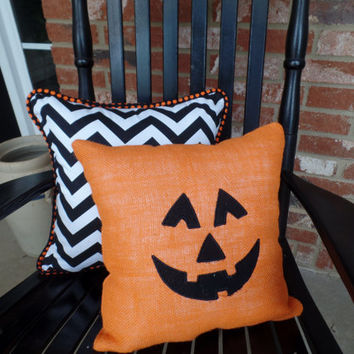 Orange Burlap Pumpkin and Black Chevron Halloween Pillow Set, Fall decor, Embroidered pillow, Halloween decoration