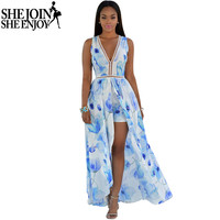 ShejoinSheenjoy Women Summer Maxi Dress Sexy Deep V-Neck Sleeveless Backless Casual Chiffon Floral Print Long Beach Dress