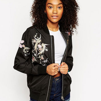 Black Floral and Phoenix Embroidery Zip-Up Jacket