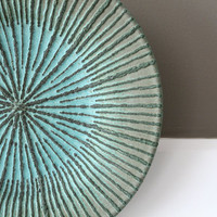 "Hand-Thrown, Rustic, Turquoise Verdigris Stoneware Plate with Sliptrailed Starburst Design / ""COPPERFULL"""