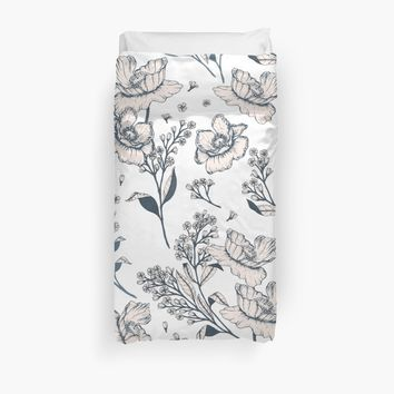 'Abstract Modern Simple Flower Pattern' Duvet Cover by UtArt