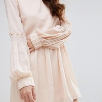 Fashion Union High Neck Smock Dress With Shirring at asos.com