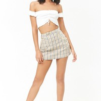 Zippered Plaid Skirt