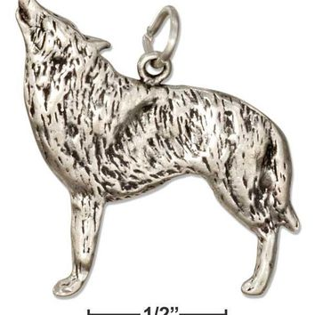 STERLING SILVER HOWLING WOLF CHARM
