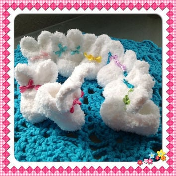 Fluffy Bunny Rabbit Slipper Style Baby Booties Easter Newborn Infant Shoes your choice of Ribbon Colors, Many Sizes