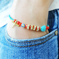 Dragonfly ethnic bracelet orange turkey istanbul jewelry turqoise accessories best friend christmas birthday gifts for women fish charm teen