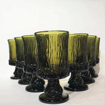Fostoria Sorrento Green Goblets Set, Vintage 70s Fostoria Sorrento Green Wine Glasses, Thick Heavy Gothic Green Water Glasses Water Goblets