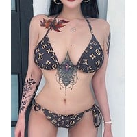 Louis Vuitton LV Fashion Women Halter Print Bandage Bottom Side Knot Two Piece Bikini Swimsuit Bathing