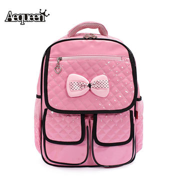 Candy Color Student PU Leather School Bags Bow Cute Nursery Backpack Primary Girls Satchel Rucksack Children Mochila Kid Bookbag