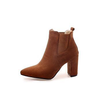 Pointed Toe Suede Chelsea Boots Chunky Heels Shoes 2687