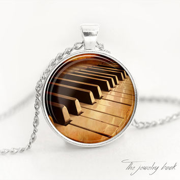 Piano necklace Piano pendant piano jewelry music necklace music pendant old piano glass pendant vintage piano necklace