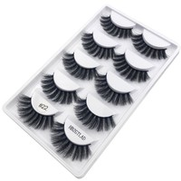 HBZGTLAD 5 pairs thick false eyelashes black long 3d mink eyelashes eyelash extension professional mink lashes makeup eye lashes
