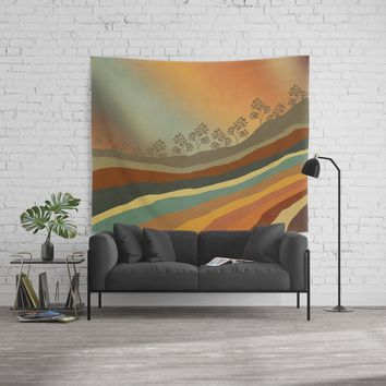 Abstract Retro Landscape 01 Wall Tapestry by vivianagonzlez