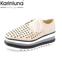 KarinLuna Women's Summer Cutouts Lace Up Thick Platform Spring Summer Shoes Woman Oxfords Big Size 33-42