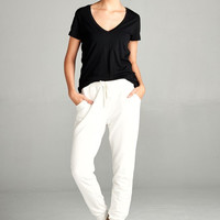 French Terry Jogger Pants - Creme