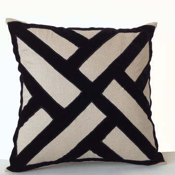 Gray Linen Black Velvet Applique Pillow Cover -Geometric Pattern Pillows -Contemporary Decor -16x16 -Decorative Throw Pillows -Gifts -Trendy