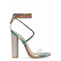 Karla Turquoise Multi Snake Clear Lace Up Diamante Heels : Simmi Shoes