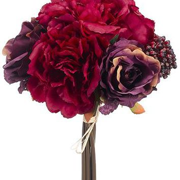 "Silk Peony, Rose & Berry Fall Bouquet Bundle in Burgundy and Purple - 20"" Tall"