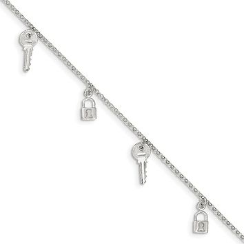 925 Sterling Silver 2mm Polished Lock and Key Chain Anklet