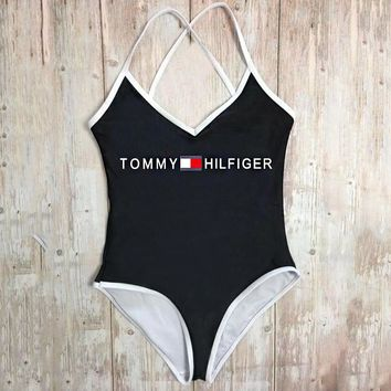 TOMMY HILFIGER Summer Fashion Women Sexy Letter Print Backless One Piece Bikini Swimsuit