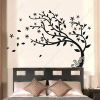 Custom PopDecals - Bedroom decor must have - Elegant tree - Beautiful Tree Wall Decals for Kids Rooms Teen Girls Boys Wallpaper Murals Sticker Wall Stickers Nursery Decor Nursery Decals